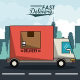 Poster city landscape with fast delivery truck of packages. Vector illustration Stock Image