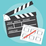 Poster with clapperboard Royalty Free Stock Photo
