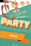 Poster for cocktail party. Vector illustration featuring cocktail party invitation with space for text Royalty Free Stock Image