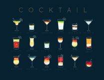 Poster cocktails flat menu dark blue. Poster flat cocktails menu with glass, recipes and names of cocktails drinks drawing horisontal on dark blue background Vector Illustration