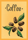 Poster with a coffee beans and leaves and text Stock Photography