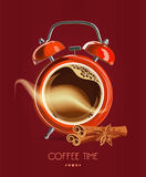 Poster with a coffee cup and alarm clock. Vector Royalty Free Stock Photo