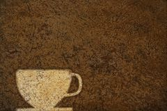 Coffee cup. Poster with a coffee cup on a stained background stock illustration