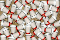 Coffee cups. Poster with  coffee cups on the go Stock Photos