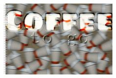 Coffee cups. Poster with coffee cups on the go. Blurred background Stock Photos