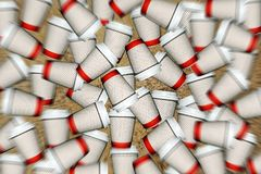 Coffee cups. Poster with coffee cups on the go. Blurred background Stock Photography