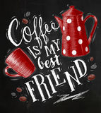 Poster coffee friend chalk Stock Image