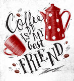 Poster coffee friend Stock Photo