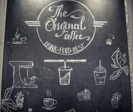 Poster coffee with hand drawn lettering royalty free stock photo