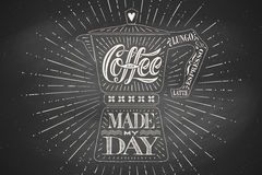 Poster coffee pot moka with hand drawn lettering Stock Image