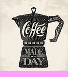 Poster coffee pot moka with hand drawn lettering Royalty Free Stock Photos