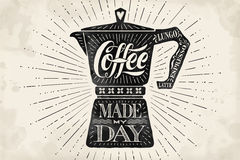 Poster coffee pot moka with hand drawn lettering Stock Images