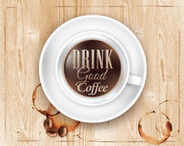 Poster coffee soft lettering Drink good coffee. Poster coffee in loft wood color shown with a cup lettering Drink good coffee Stock Image