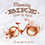Poster coffee spot bike. With lettering Morning bike arrive by bicycle Love my coffee, love my bike Royalty Free Stock Images