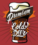 Poster of cold beer. Vector color poster of cold beer with lettering Royalty Free Stock Images