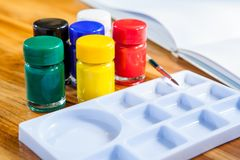 Poster Color bottle, Brush, Palette,Drawing book with art for ki Royalty Free Stock Images