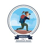 Poster color of wanderlust the adventure await with hiking woman taking a picture in outdoors. Vector illustration vector illustration