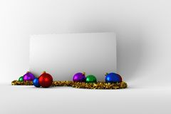 Poster with colourful christmas decorations Royalty Free Stock Photography