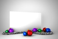 Poster with colourful christmas decorations Royalty Free Stock Photos