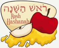 Apple and Honey for Jewish New Year, Vector Illustration Stock Photography