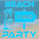 Poster concept Christmas Beach Party with palm trees royalty free illustration