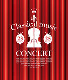 Poster for concert of classical music with violin. Vector poster for a concert of classical music with a velvet curtain and violin royalty free illustration
