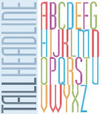 Poster condensed bright font, striped compact tall uppercase let Stock Photos