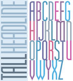 Poster condensed colorful font, striped compact tall uppercase l Royalty Free Stock Photo