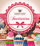Poster of confectionery bakery with cupcakes. Vector illustration of a background, poster of confectionery bakery with cupcakes and a round frame for your text vector illustration