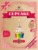 Poster of confectionery bakery with cupcakes Stock Photos