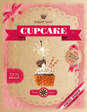 Poster of confectionery bakery with cupcakes Stock Image