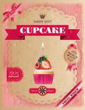 Poster of confectionery bakery with cupcakes Stock Images