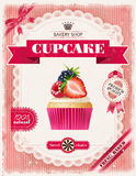Poster of confectionery bakery with cupcakes Stock Photo