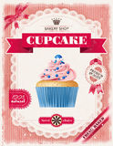 Poster of confectionery bakery with cupcakes Royalty Free Stock Photo