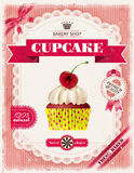 Poster of confectionery bakery with cupcakes Stock Photography