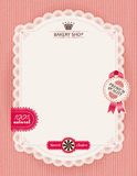 Poster of confectionery bakery with lacy frame Royalty Free Stock Images