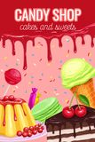 Poster with confectionery and sweets. Vector lollipop, ice cream, sweets, macaroon, pudding and cake Royalty Free Stock Photo