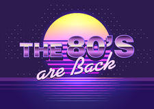 Poster with cool design. Back to the 80s. Vector retro emblem. The 80s are back. 80 s style illustration. Template for design or tshirt Royalty Free Stock Photography