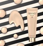 Poster for Cosmetic Product, Tube with Foundation Royalty Free Stock Images