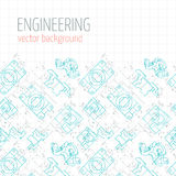 Poster, cover, banner, background of blue engineering drawings of parts. Vector Royalty Free Stock Images