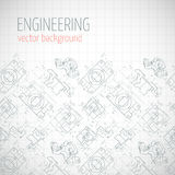 Poster, cover, banner, background with technical drawing of parts. Notebook sheet. Vector Royalty Free Stock Photo