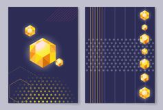 Poster Cover Design with Diamond Golden Crystals. Of different shape on blue background with abstract geometric figures vector illustration banner Royalty Free Stock Images