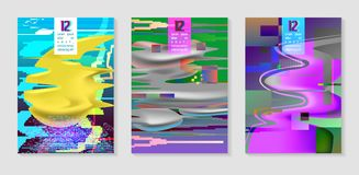 Poster, Covers with Glitch Effect and Fluid Shapes. Posters, Covers with Glitch Effect and Liquid Fluid Shapes. Abstract Hipster Design Set for Placard, Banner Stock Photography