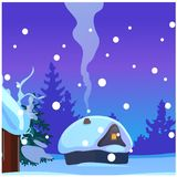 Poster with cozy rustic small hunting lodge with glowing window and smoke from the chimney in winter evening. Sample of. Poster, party holiday invitation stock illustration
