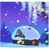 Poster with cozy rustic small hunting lodge with glowing window and smoke from the chimney in winter evening. Sample of. Poster, party holiday invitation vector illustration