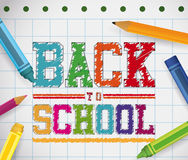 Poster with Crayons and Color Pencils for Back to School, Vector Illustration Stock Image