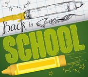 Realistic Crayon and Other in Sketch for Back to School, Vector Illustration Royalty Free Stock Photo