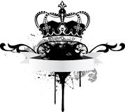 Poster with crown and tape. The Black-and-white poster with a crown and an ornament Stock Photography