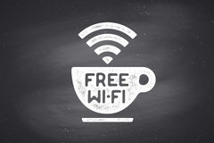 Poster with cup of coffee and text Free WiFi Royalty Free Stock Photography