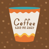 Poster with a cup of coffee and typography Royalty Free Stock Photos